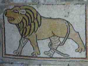 Lion mosaic from the archaeological museum at Maarat Al Nu'man, Syria